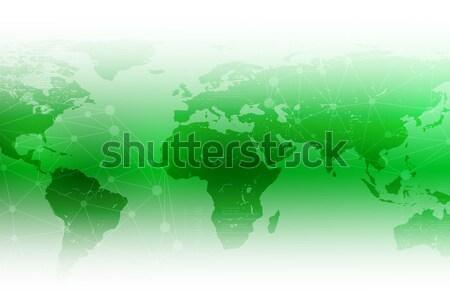 Fényes absztrakt zöld világtérkép Stock fotó © cherezoff