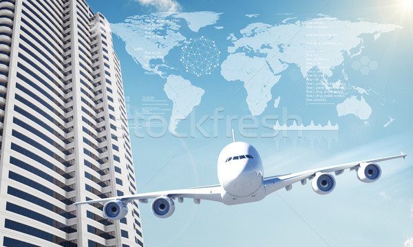 Jet with world map and business center Stock photo © cherezoff