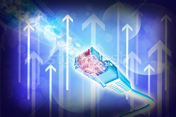 Niebieski kabel komputerowy streszczenie Zdjęcia stock © cherezoff
