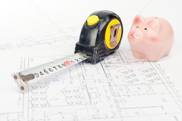 Fita métrica piggy bank porco gordura gráfico fita Foto stock © cherezoff
