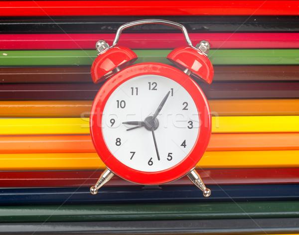çalar saat boya kalemleri görmek ahşap saat Stok fotoğraf © cherezoff
