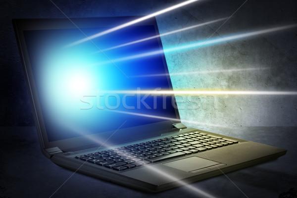 Laptop plek Open grijs technologie Stockfoto © cherezoff