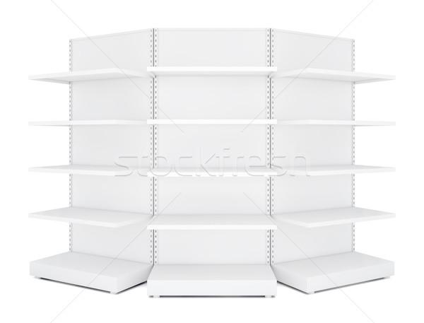 Three rounded blank empty retail shelves Stock photo © cherezoff