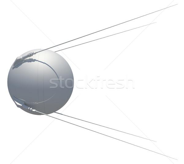 地球 衛星 3次元の図 孤立した 白 世界中 ストックフォト © cherezoff