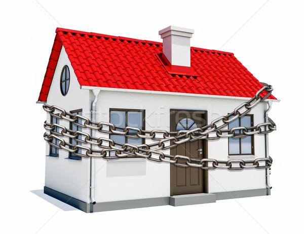 Ház piros tető fém lánc kicsi Stock fotó © cherezoff