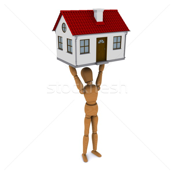 Standing wooden man holds in his hands above his head house with red roof. 3D rendering Stock photo © cherezoff