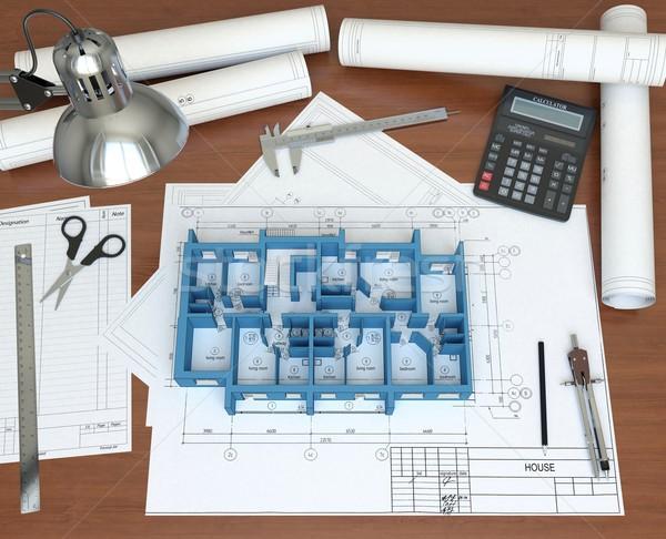 Foto d'archivio: 3D · modello · piano · casa · desktop · architetto