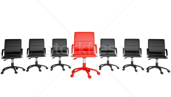 Series of black and one red office chair Stock photo © cherezoff