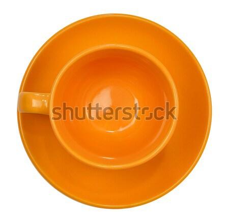 Orange tasse soucoupe isolé blanche couleur Photo stock © cherezoff