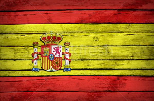 スペイン国旗 描いた 木製 グランジ スタイル 背景 ストックフォト © cherezoff