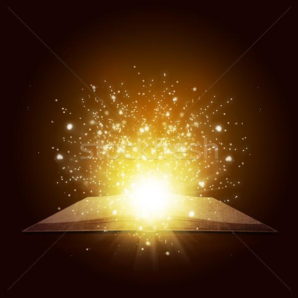 öreg nyitott könyv mágikus fény zuhan csillagok Stock fotó © cherezoff