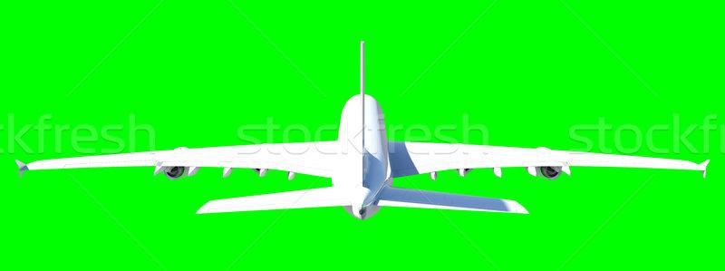 Witte moderne vliegtuig geïsoleerd groene vliegtuig Stockfoto © cherezoff