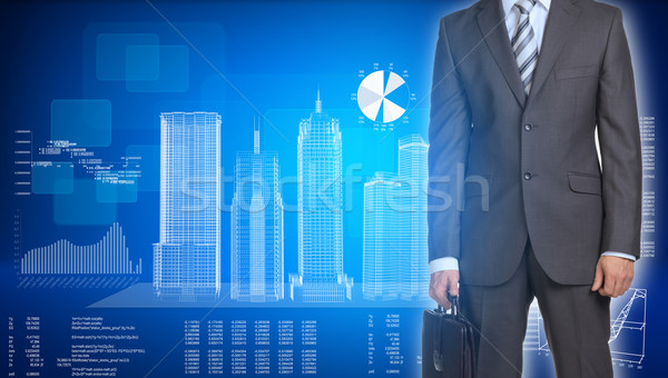Businessman and wire-frame buildings on plane Stock photo © cherezoff