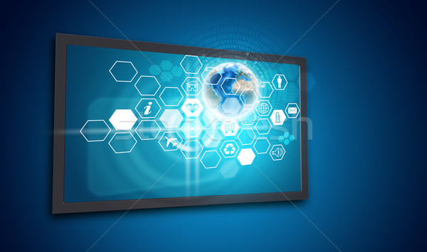 Touchscreen display with honeycomb shaped icons and Globe Stock photo © cherezoff