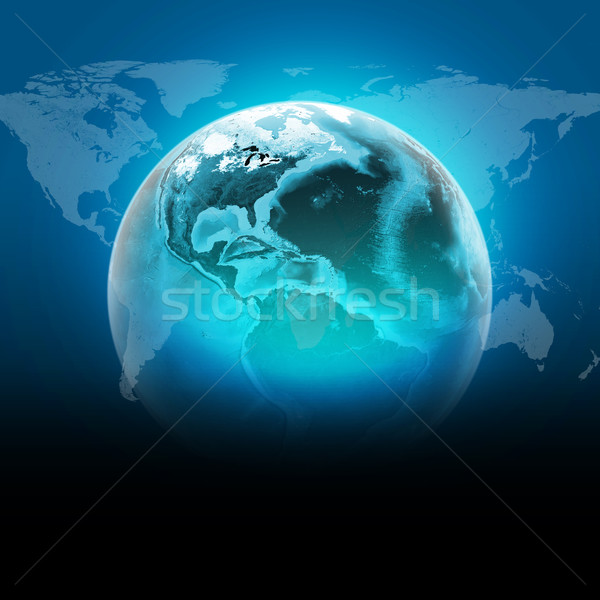 Blue earth globe with continents transparent world map on dark stock photo blue earth globe with continents transparent world map on dark background elements of this image furnished by nasa gumiabroncs Images