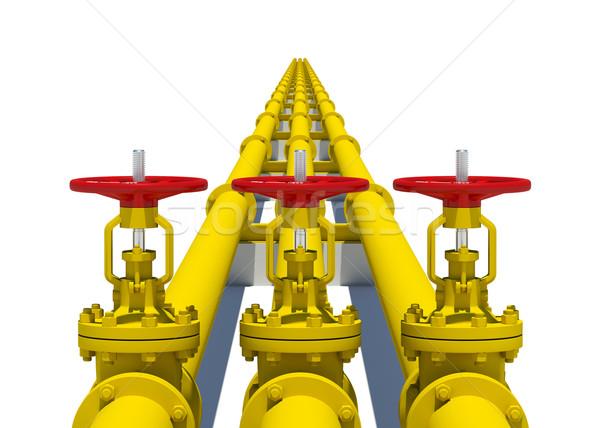 Drie Geel pijpen geïsoleerd witte metaal Stockfoto © cherezoff