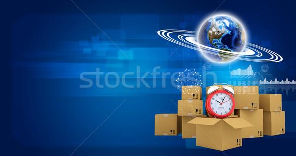 Сток-фото: земле · модель · кольцами · будильник · картона · коробки