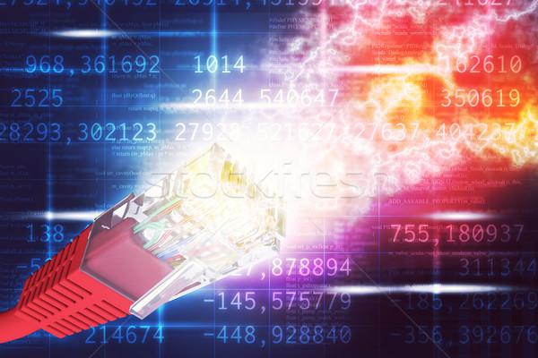 Czerwony kabel komputerowy streszczenie kolorowy numery Zdjęcia stock © cherezoff