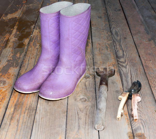 Wellingtons with garden tools on wooden floor Stock photo © cherezoff