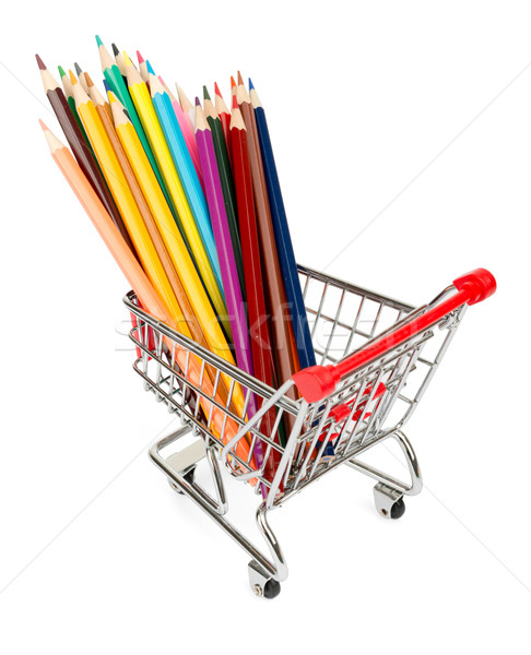 Crayons in shopping cart on white Stock photo © cherezoff