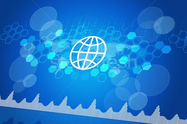 Computerpictogrammen wereldkaart nummers abstract Blauw Stockfoto © cherezoff