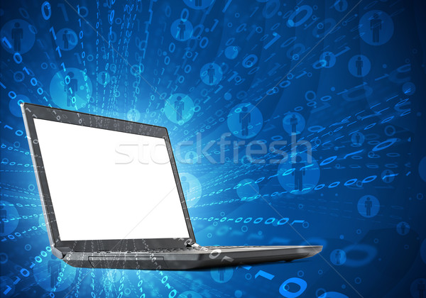 Laptop with blank screen and lightspot  Stock photo © cherezoff