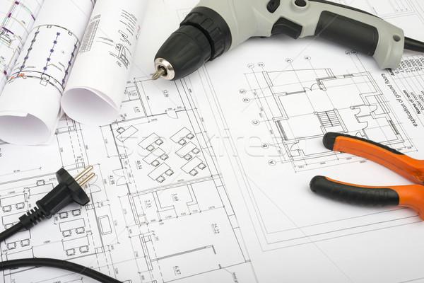 архитектура плана чертежи электрических отвертка Сток-фото © cherezoff