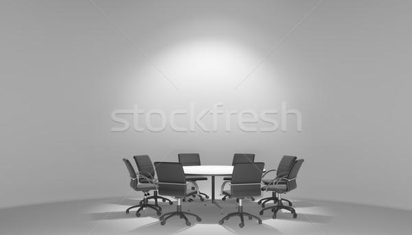 Megvilágított tárgyalóterem asztal 3d illusztráció üzlet fal Stock fotó © cherezoff