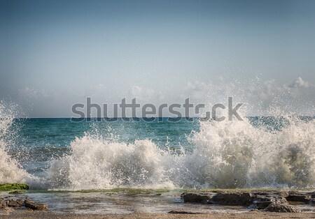 Hdr water zee blauwe hemel strand Stockfoto © cherezoff