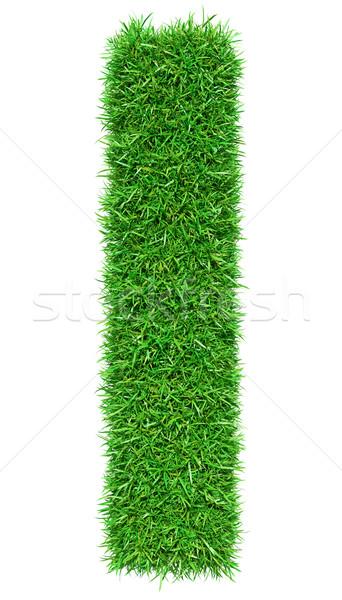 Groen gras letter i geïsoleerd witte doopvont ontwerp Stockfoto © cherezoff