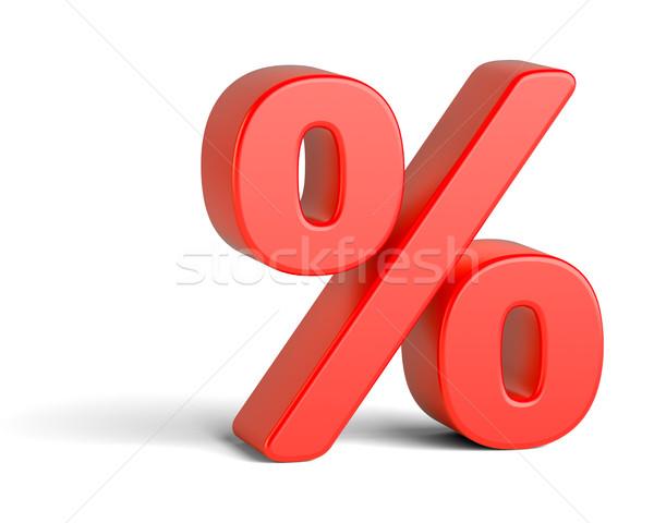 Rouge pourcentage signe blanche 3d illustration résumé Photo stock © cherezoff