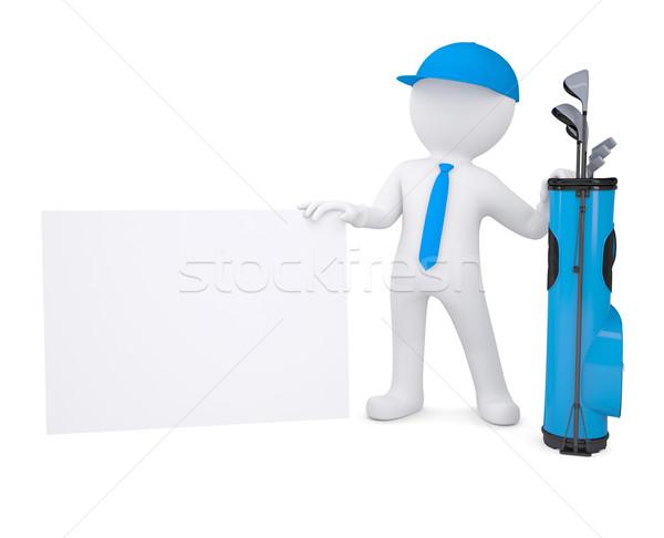 3D fehér férfi tart karton kártya táska Stock fotó © cherezoff