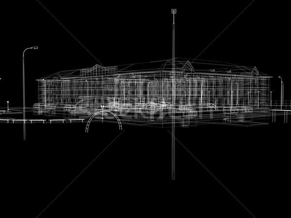 Stok fotoğraf: Soyut · tel · kafes · vermek · siyah · duvar · dizayn