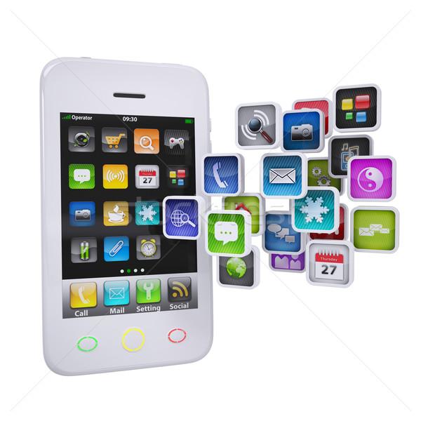 ストックフォト: 白 · スマートフォン · アプリケーション · アイコン · 孤立した · レンダー