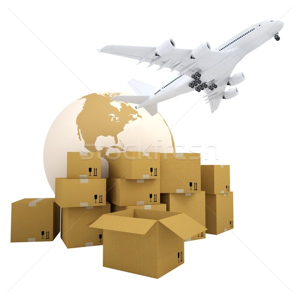 Earth, cardboard boxes and the plane Stock photo © cherezoff