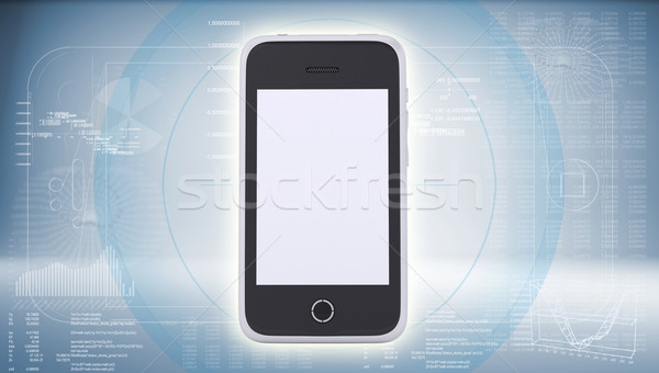 Smartphone on high-tech blue background Stock photo © cherezoff