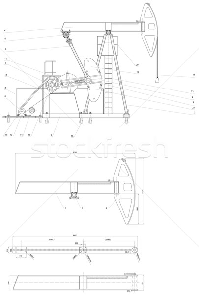 Engineering drawing of the pumping unit Stock photo © cherezoff