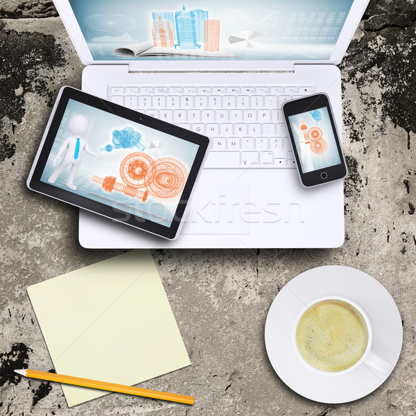 Laptop, tablet pc and smart phone Stock photo © cherezoff