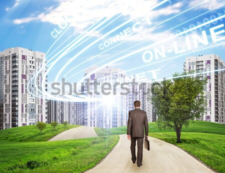 Businessman walking along road through green hills towards city. Charts and other virtual items in s Stock photo © cherezoff