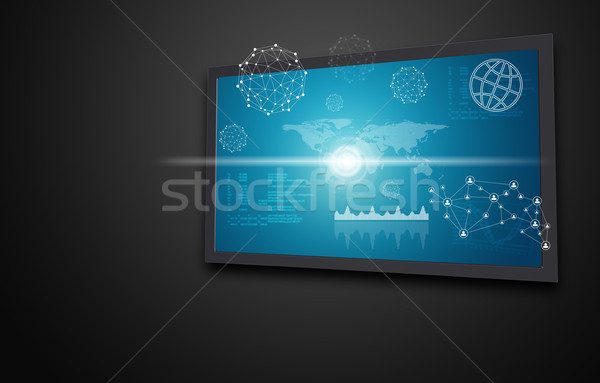 Touchscreen display with world map, graphs and other elements Stock photo © cherezoff