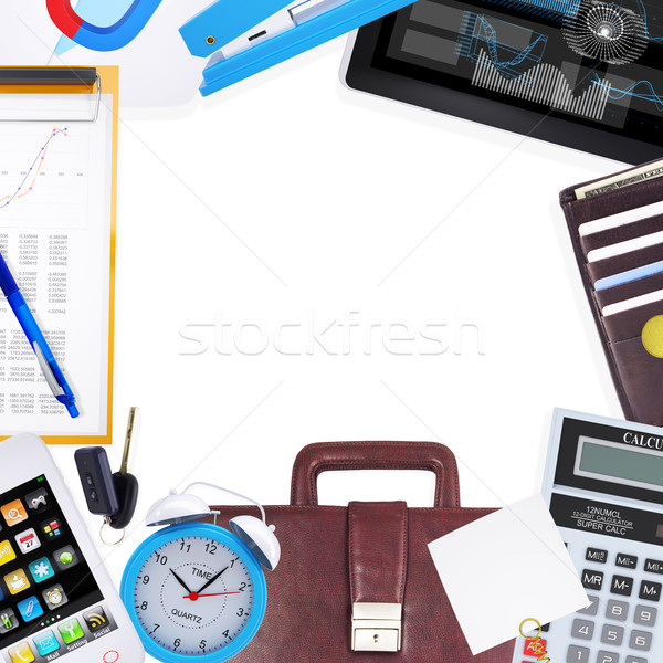 Various office supplies and tools on table Stock photo © cherezoff