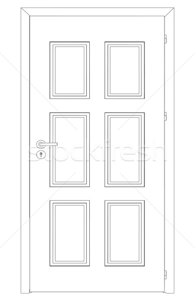 Sketch of closed wire-frame door. Vector Illustration Stock photo © cherezoff
