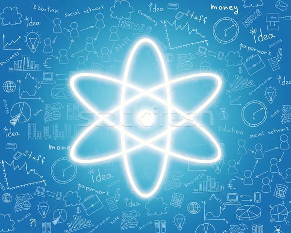 ядерной энергии икона аннотация синий рук Сток-фото © cherezoff