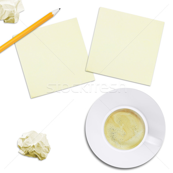 Cup with coffee and note paper, top view Stock photo © cherezoff