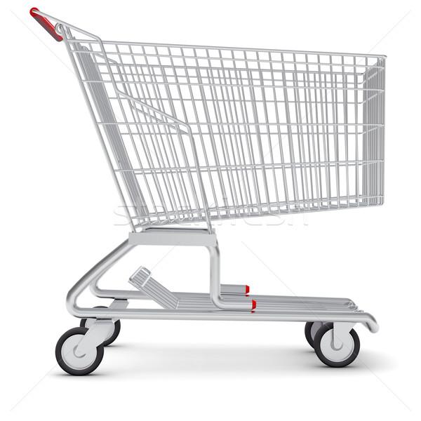 Bevásárlókocsi kerekek izolált fehér fém bolt Stock fotó © cherezoff