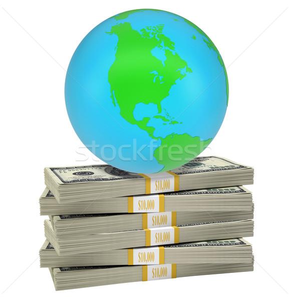 Earth on bundle of money Stock photo © cherezoff
