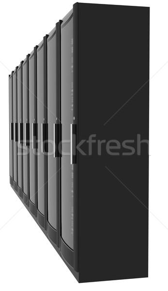 Set of metal lockers on white, side view Stock photo © cherezoff