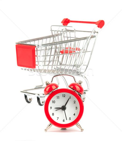 ébresztőóra bevásárlókocsi izolált fehér óra idő Stock fotó © cherezoff