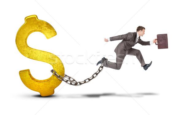 Foto stock: Empresário · dólar · saltando · lacuna · branco · imagem