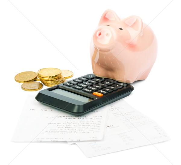 Сток-фото: Piggy · Bank · калькулятор · изолированный · белый · деньги